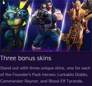 heroes of the storm founder's pack free heroe skins