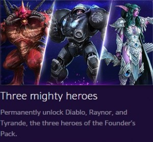 heroes of the storm founder's pack free heroes